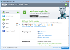 ESET Smart Security 8 user interface