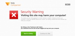 Web companion warning