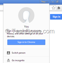 new You user menu Chrome non-signed