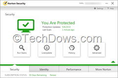 Norton Security 2015 interface 30-day trial