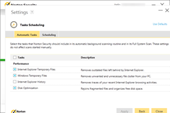 Norton Security Performance Tasks Settings