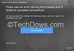 Panda Free Antivirus installation error