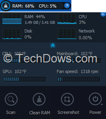 Performance Monitor mini mode and screenshot
