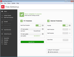 Avira Free Antivirus 2015 user interface