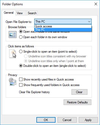 Folder Options General