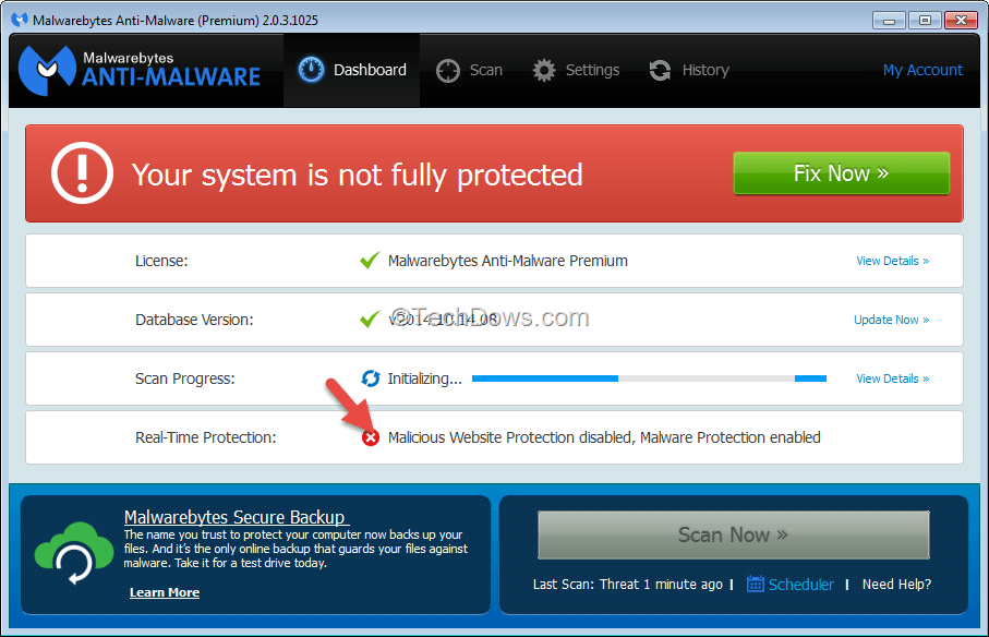 Malwarebytes web protection won t enable