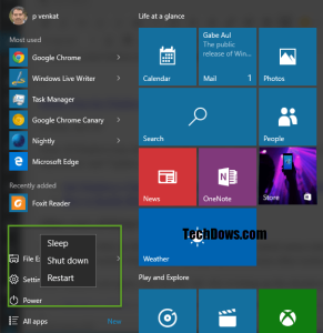 Power Options in the Windows 10 Start Menu