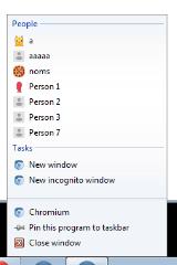 Canary taskbar people profiles