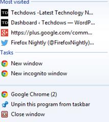Chrome taskbar most visited jumplist