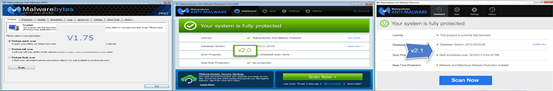 Malwarebytes 1.75, 2.0 and 2.1 version UIs
