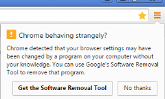 Chrome behaving strangely get software removal tool notification