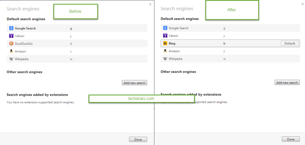 how to make search engine default