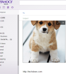 Yahoo Mail with an image inside a message