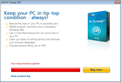 AVG PC TuneUp 2015 trial expired dialog