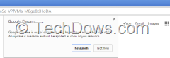 Chrome  notification dialog asks to relaunch browser to install the update