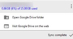 Google Drive new menu