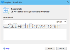 Dropbox share folder dialog Windows