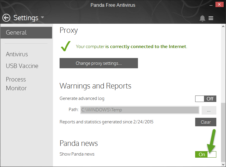 Panda Free Antivirus 2015 general settings