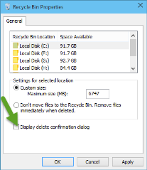 Windows 10 delete confirmaiton dialog Recycle Bin
