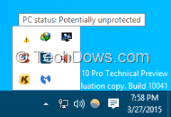 Windows 10 tray icon saying PC status is potentially unprotected