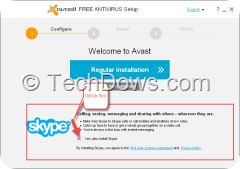 Avast free antivirus setup welcome dialog with Skype install option pre-selected
