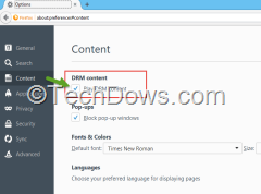 DRM support enabeld in Firefox 38