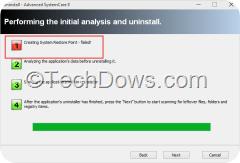 Revo Uninstaller uninstall wizard showing system restore point creation error[3]