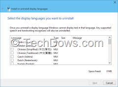 uninstall or remove language packs in Windows 10 build 10049