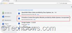 Adobe Primetime CDM plugin installeld Firefox 38