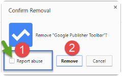 Chrome extension uninstall dialog with Report Abuse checkbox