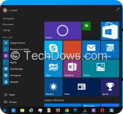 Windows 10 build 10074 start menu and taskbar with black theme