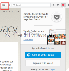 Firefox 38.0.5 with Reader View and Pocket icons