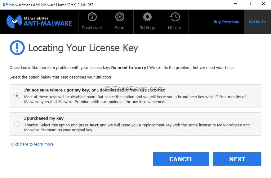 malwarebytes upgrade key
