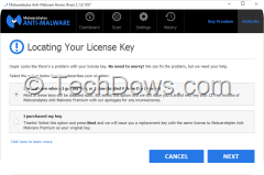 Malwarebytes locating your license key screen