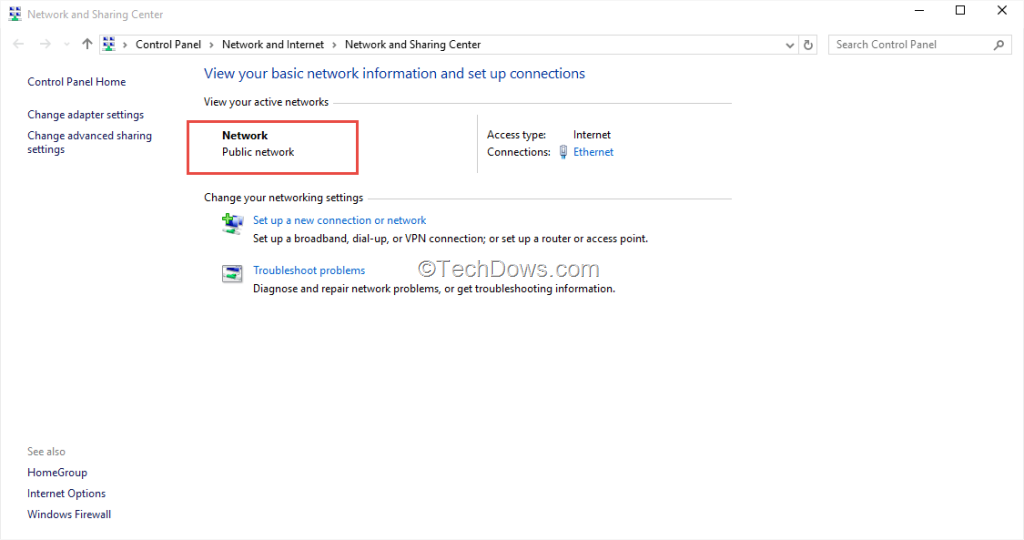 change from public to private network windows 10