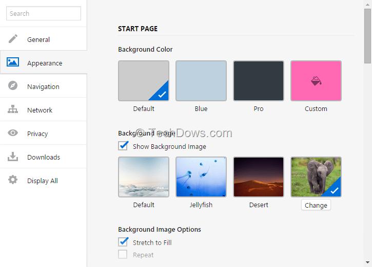 New vivaldi snapshot lets you change start page background for Set page background color html