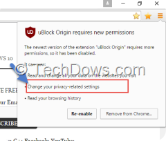 ublock requires new permissions dialog