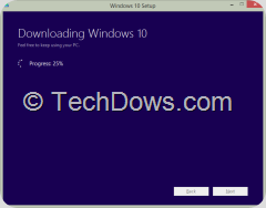 Downloading Windows 10 progress