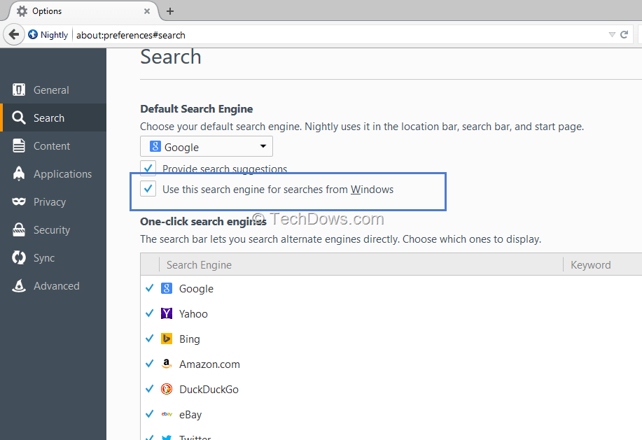 Firefox's use this search engine for Searches from Windows preference