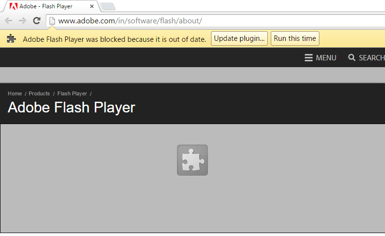 Google chrome showing Adobe Flash player was blocked because it is out of date error message