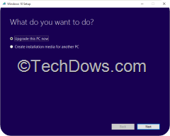 Media Creation Tool showing Windows 10 Setup dialog