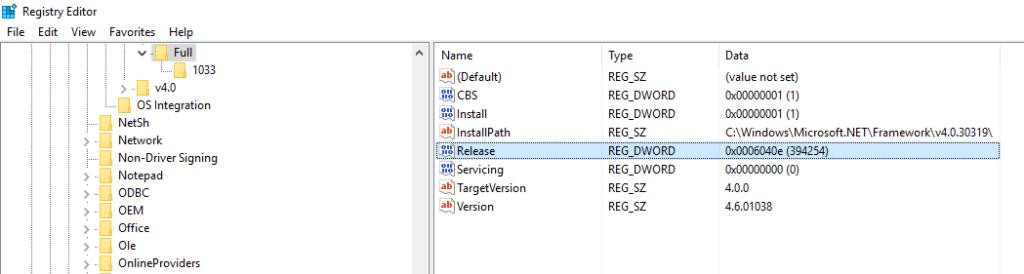 Windows 10 November update system registry editor showing release Dword for .NET framework verison