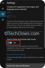 Windows 10 Search or Cortana Settings