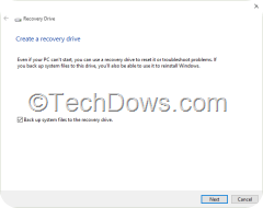 Windows 10 recovery drive wizard