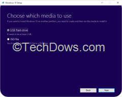 Windows 10 setup with  ISO file option