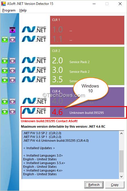 Check .NET Framework Version in Windows 10   Techdows