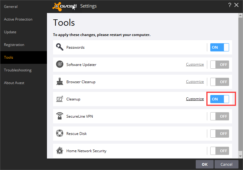 cleanup enabled in  Avast Tools Settings