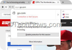 disable tracking protection for current private browsing session