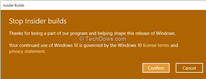 stop windows insider