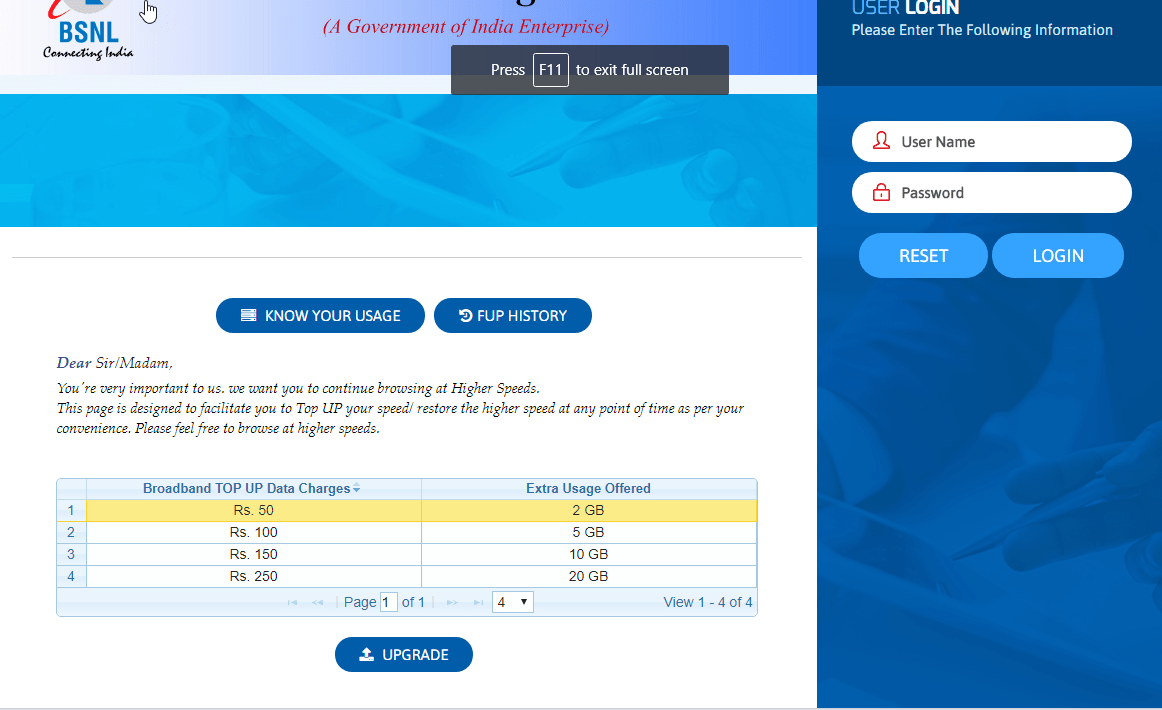 How to Top Up BSNL Broadband After FUP Limit or on Demand